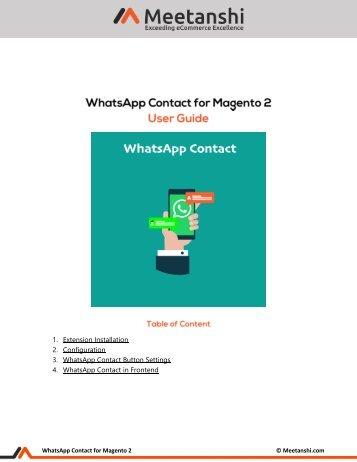 Magento 2 WhatsApp Contact
