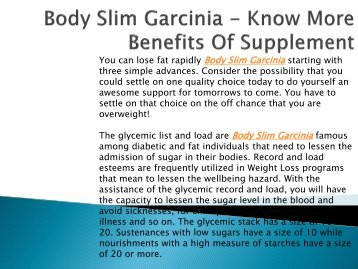 Body Slim Garcinia - Know More Benefits Of Supplement-output