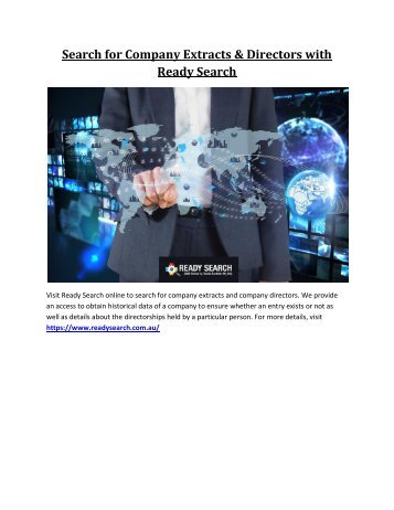 Search for Company Extracts & Directors with Ready Search