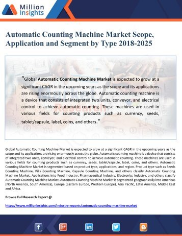 Automatic Counting Machine Market Scope, Application and Segment by Type 2018-2025