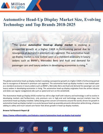 Automotive Head-Up Display Market Size, Evolving Technology and Top Brands 2018-2025