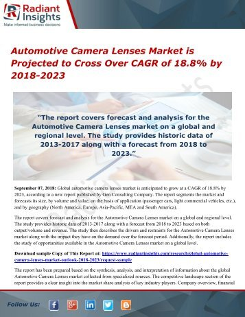 Automotive Camera Lenses Market is Projected to Cross Over CAGR of 18.8% by 2018-2023