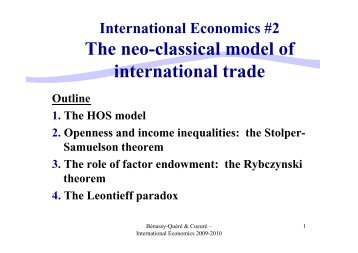 The neo-classical model of international trade international ... - Cepii
