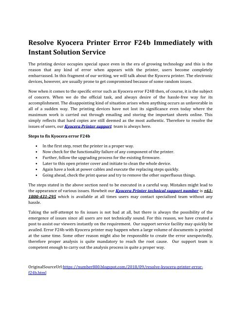 How to fix Kyocera error F24B IMMEDIATELY-converted
