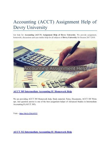 Accounting (ACCT) Assignment Help of Devry University