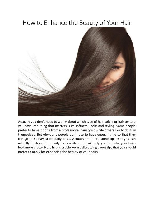 How to Enhance the Beauty of Your Hair