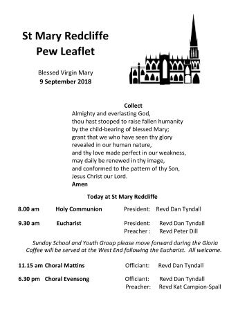 St Mary Redcliffe Church Pew Leaflet - September 9 2018