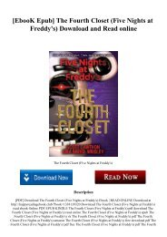 [EbooK Epub] The Fourth Closet (Five Nights at Freddy's) Download and Read online