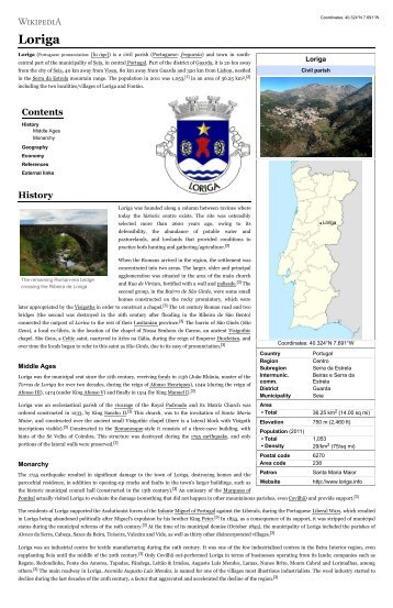 History of Loriga on Wikipedia, the free encyclopedia – Article created by the historian António Conde