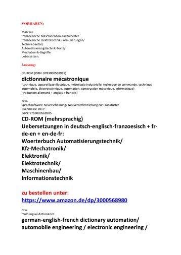 Woerterbuch-Leseproben: franzoesische Maschinenbau Begriffe