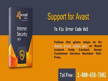 Call 1-800-658-7602 to fix Avast Antivirus Error 0x5