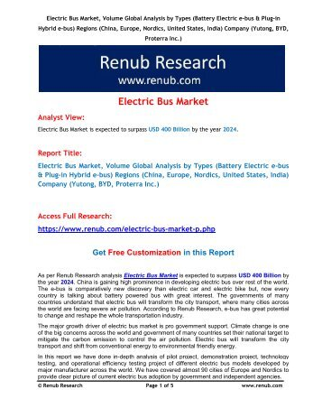 Electric Bus Market is expected to surpass USD 400 Billion by 2024