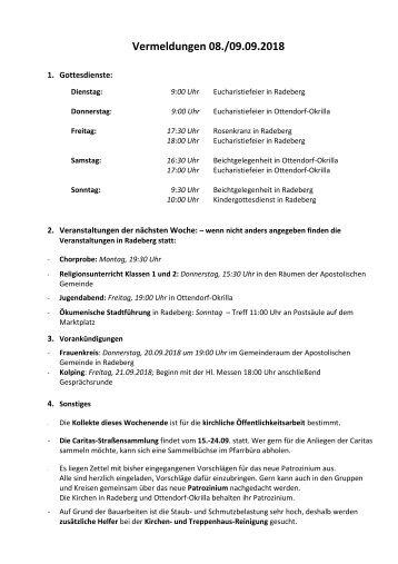Vermeldungen für KW37/18