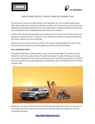Some Useful Tips for a Desert Safari by Udaipur Taxi