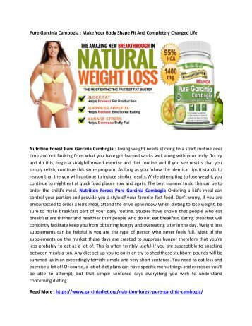 Pure Garcinia Cambogia : Helps to Improve Your Energy Level Boost Stamina