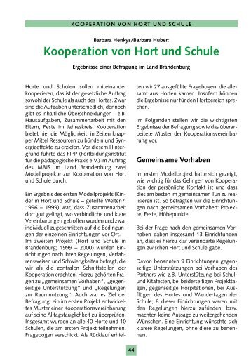 Kooperation von Hort und Schule - Brandenburg.de