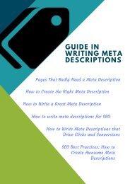 Guide in Writing Meta Descriptions