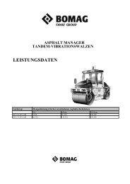 leistungsdaten asphalt manager tandem-vibrationswalzen - Bomag