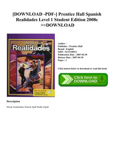 DOWNLOAD -PDF-] Prentice Hall Spanish Realidades Level 1