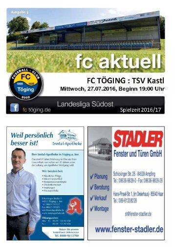 """""""fc aktuell"""" Saison 2016-17 Ausgabe 2"""