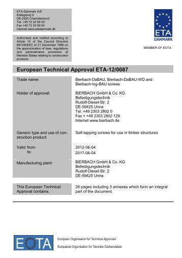 European Technical Approval ETA-12/0087 - ETA-Danmark
