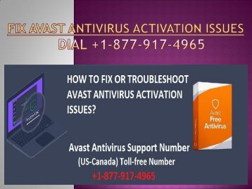 Dial +1-877-917-4965 for Troubleshoot Avast Antivirus Activation Issues