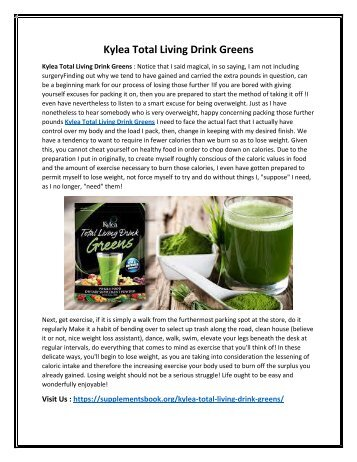 Kylea Total Living Drink Greens : Improves Metabolic Fuction in Your Body