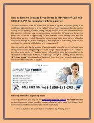 How to Resolve Printing Error Issues in HP Printer? Call +61-1800-431-295 for Immediate Solution Service