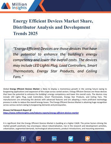 Energy Efficient Devices Market Segmented by Material, Type, End-User Industry and Geography – Trends and Forecasts 2025