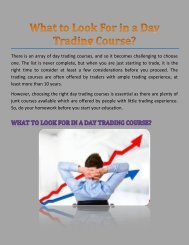 What to Look For in a Day Trading Course?