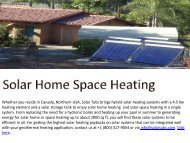 Best Solar Home Space Heating
