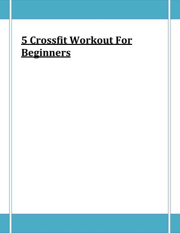 5 Crossfit Workout For Beginners