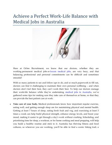 Achieve a Perfect Work-Life Balance with Medical Jobs in Australia