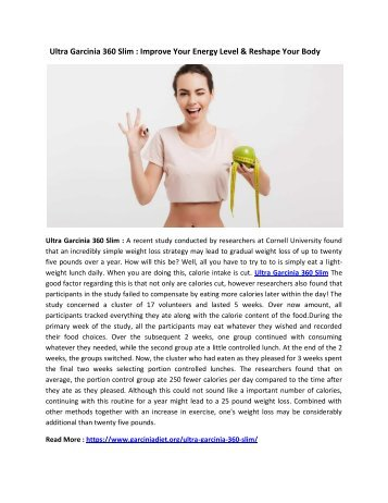Ultra Garcinia 360 Slim : Natural Supplement For Loss Weight