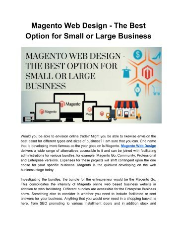 Magento Web Design - The Best Option for Small or Large Business