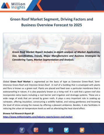 Green Roof Market Segment, Driving Factors and Business Overview Forecast to 2025