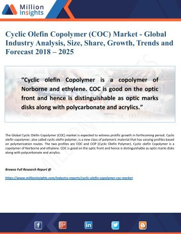 Cyclic Olefin Copolymer (COC) Market - Global Industry Analysis, Size, Share, Growth, Trends and Forecast 2018 – 2025