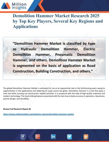 Demolition Hammer Market 2025 Research Report with Major New Feature