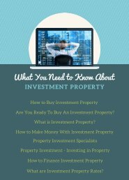 What You Need to Know About Investment Property