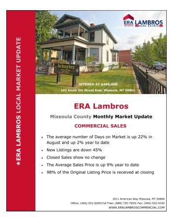 Missoula Commercial Market Update - August 2018
