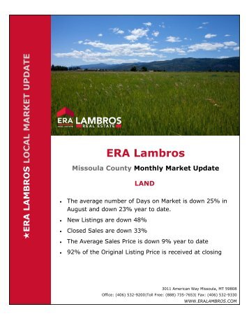 Missoula Land Market Update - August 2018