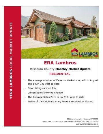 Missoula Residential Market Update - August 2018