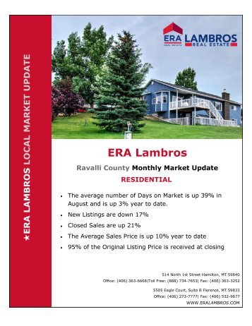 Bitterroot Residential Market Update - August 2018