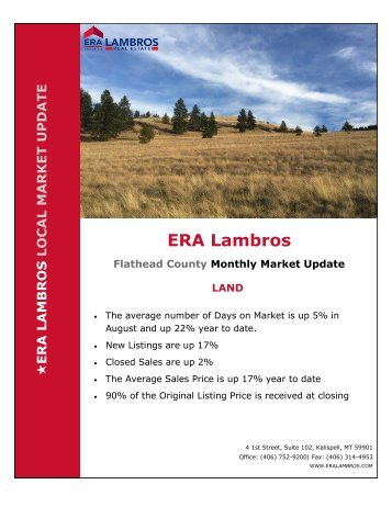 Flathead County Land Market Update - August 2018