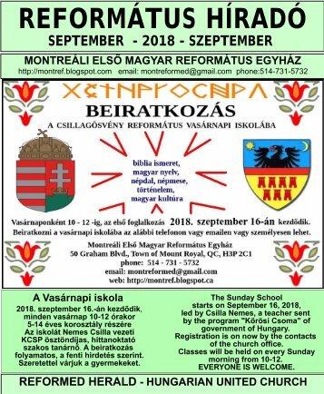 2018-SEPTEMBER-REFORMÁTUS HÍRADÓ-NEWSLETTER