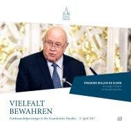 Friedensnobelpreisträger in der Frauenkirche Dresden - Frederik Willem de Klerk