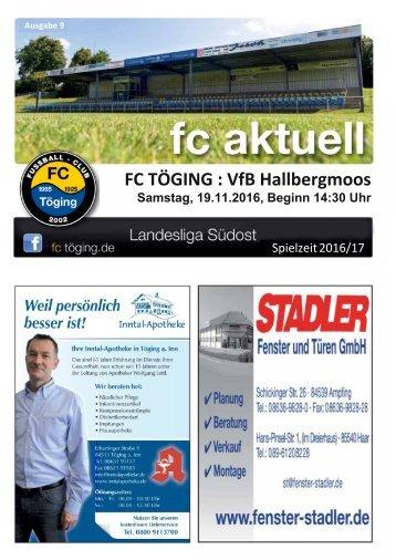 """""""fc aktuell"""" Saison 2016-17 Ausgabe 9"""