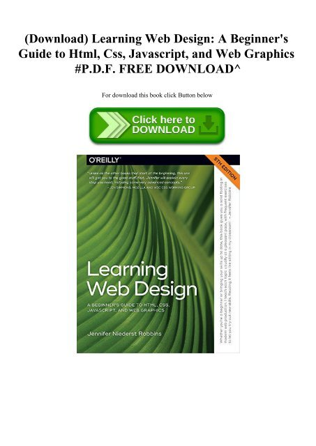 Download) Learning Web Design A Beginner's Guide to Html Css