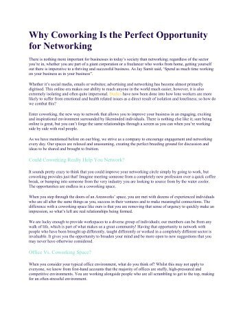 Why Coworking Is the Perfect Opportunity for Networking