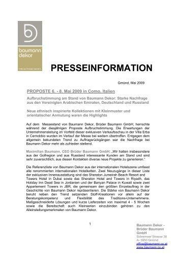 PRESSEINFORMATION - Baumann Dekor